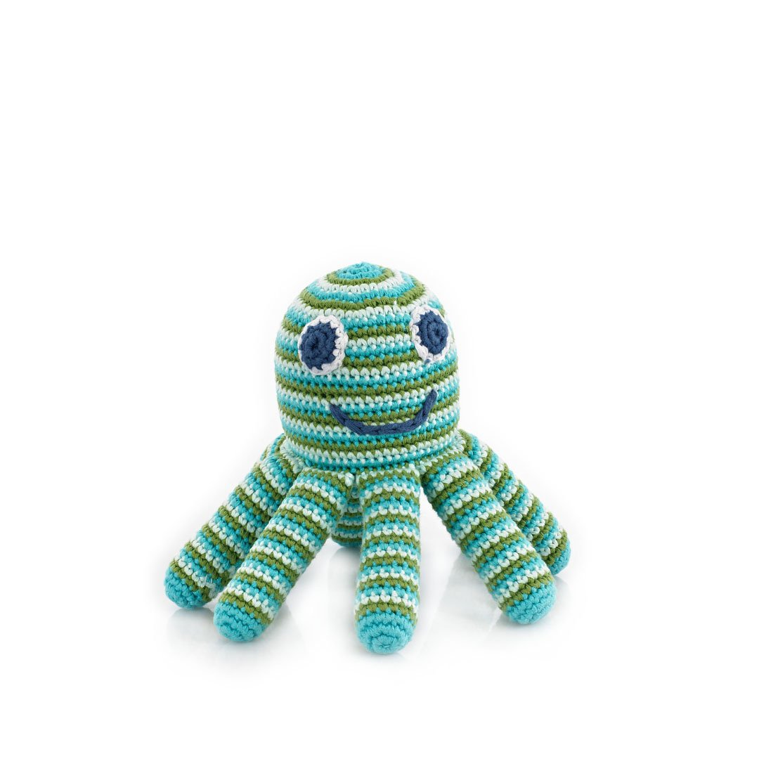 Deep Green Octopus Rattle by Pebble | Octopus toys, Kids toys, Toddler Toys | Helping women out of poverty and putting smiles on faces worldwide!