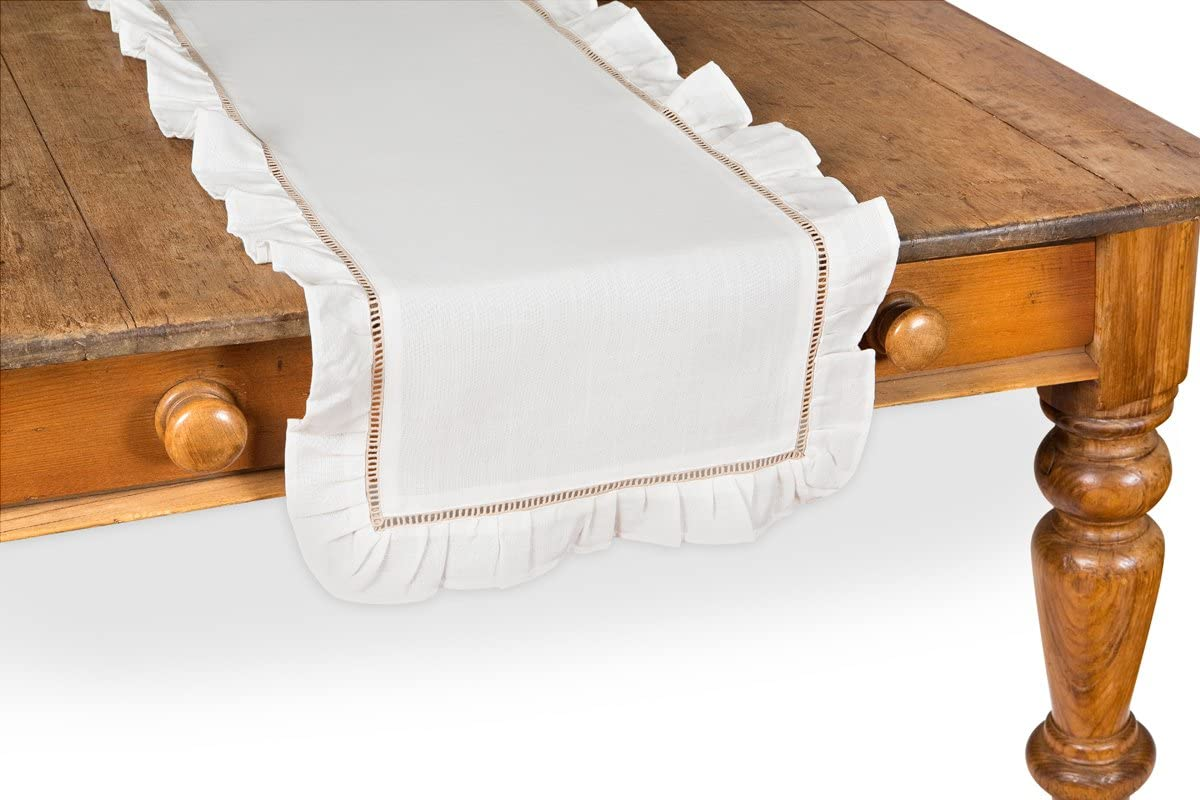 Amazon Com Xia Home Fashions Hemstitch Ruffle Trim Natural Hemstitch Table Runner 16 By 36 Inch White Home Kitchen