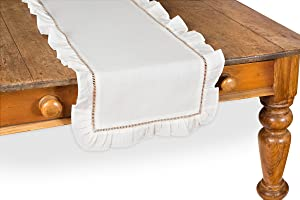 Xia Home Fashions Hemstitch/Ruffle Trim Natural Hemstitch Table Runner, 16 by 36-Inch, White