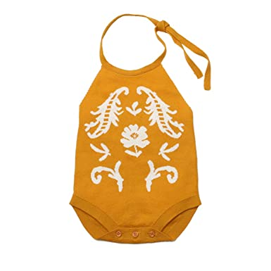 7a1967ea326 Image Unavailable. Image not available for. Color  dzsntsmgs Knitting Flower  Newborn Baby Girl Backless Sleeveless Romper Halter ...