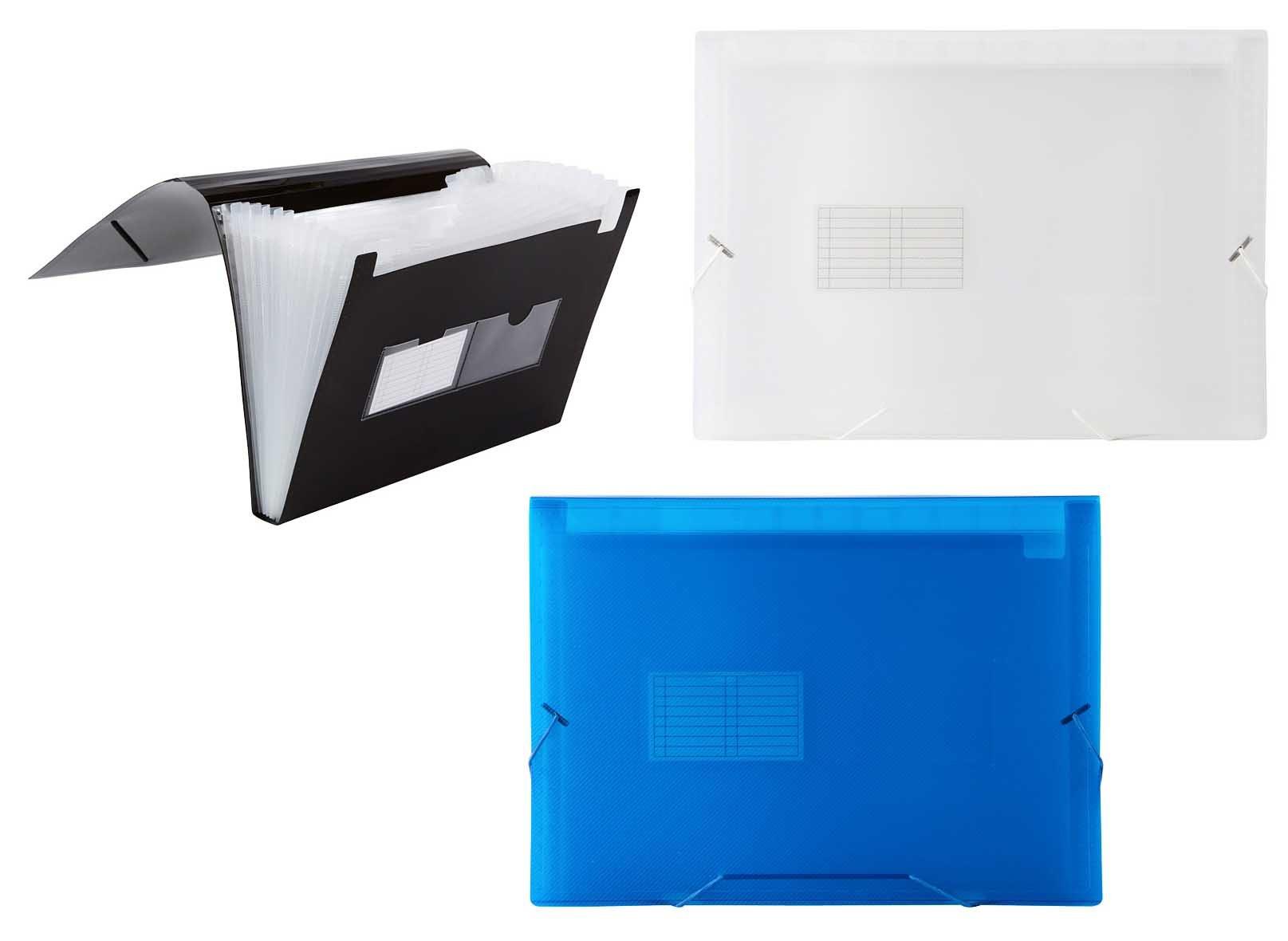 Filexec 50013-4322 Expanding File, Translucent, 13 Pockets, Letter Size, Set of 3, 3 Assorted Colors Black, Blue, Clear