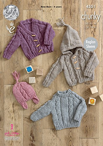 King Cole Baby Knitting Pattern Raglan Sleeve Sweater Cardigans & Hat Magnum Chunky - Sweater Knit Baby Pattern