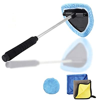 Windshield Wiper Tool Extendable Handle w/ Reusable Microfiber Bonnets Towel,Portable Auto Cleaning kit Interior Exterior,5 in 1 Car Brush Duster Glass Cleaner Set for Vehicle Home: Automotive