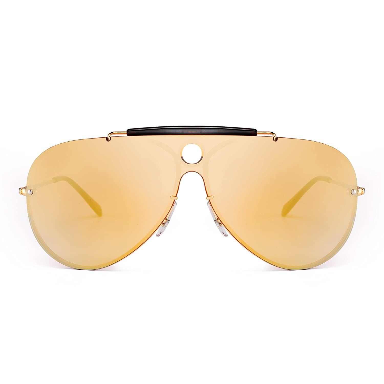 Rimless Aviator Sunglasses Mirrored Flat Top One Piece Metal Eyewear Men Women HFX0018 C3
