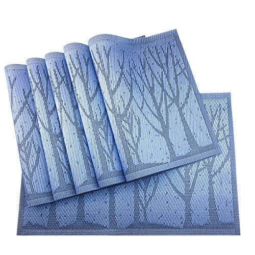 (Gugrida Place Mats PVC Set of 6, Table Placemats Set of 6 PVC Washable Woven Vinyl Place Mats Heat Insulation Top Meal Mat Table Mats Natural Color (6 pcs, Blue Tree))
