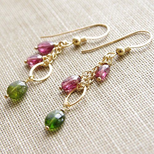 Rubellite Gemstone (Tourmaline Earrings Gold Filled Green Rubellite Pink Gemstone Dangle)