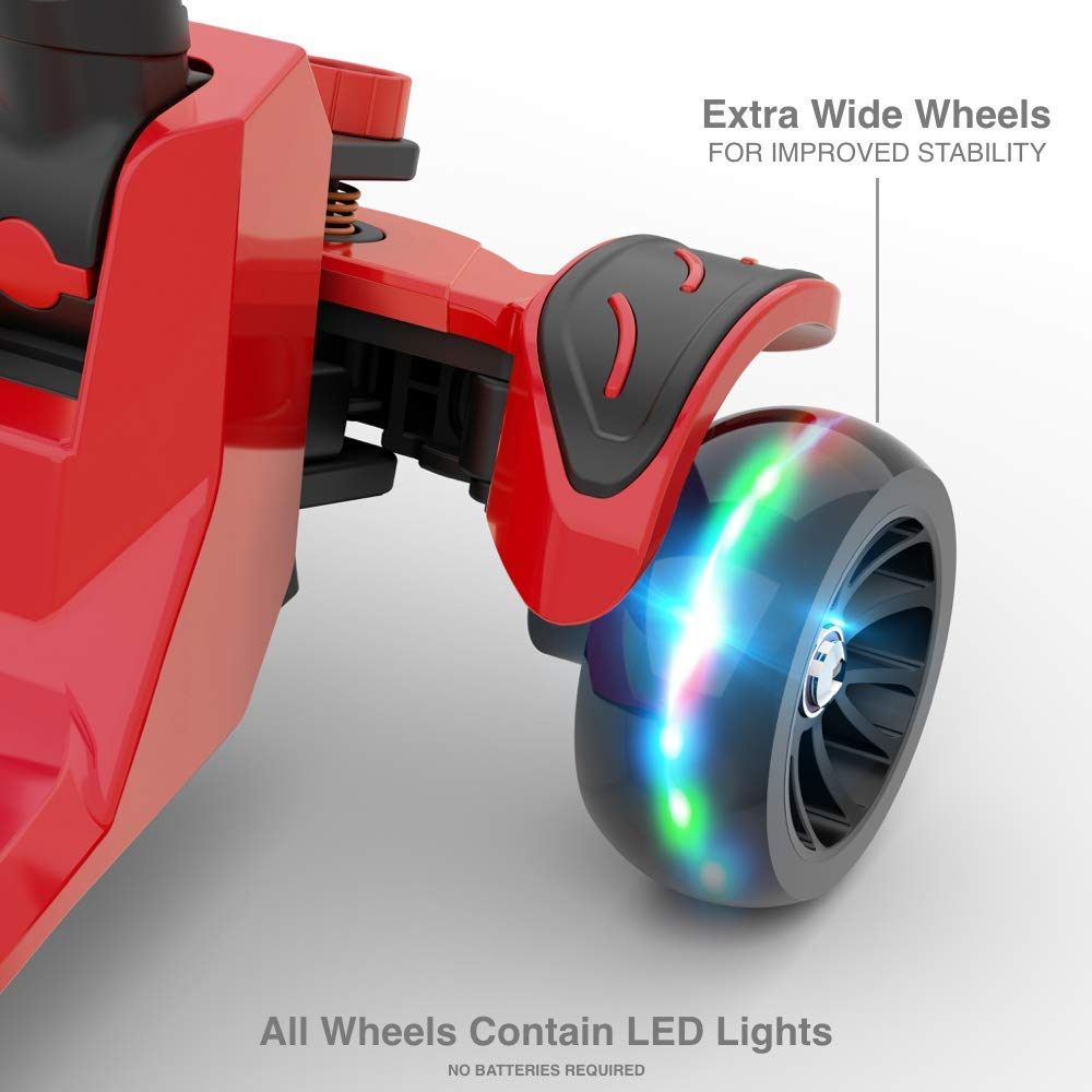 6KU Kick Scooter for Kids & Toddlers Girls or Boys with Adjustable Height, Lean to Steer, Flashing Wheels for Toy Children 3-8 Years Old Red by 6KU (Image #4)