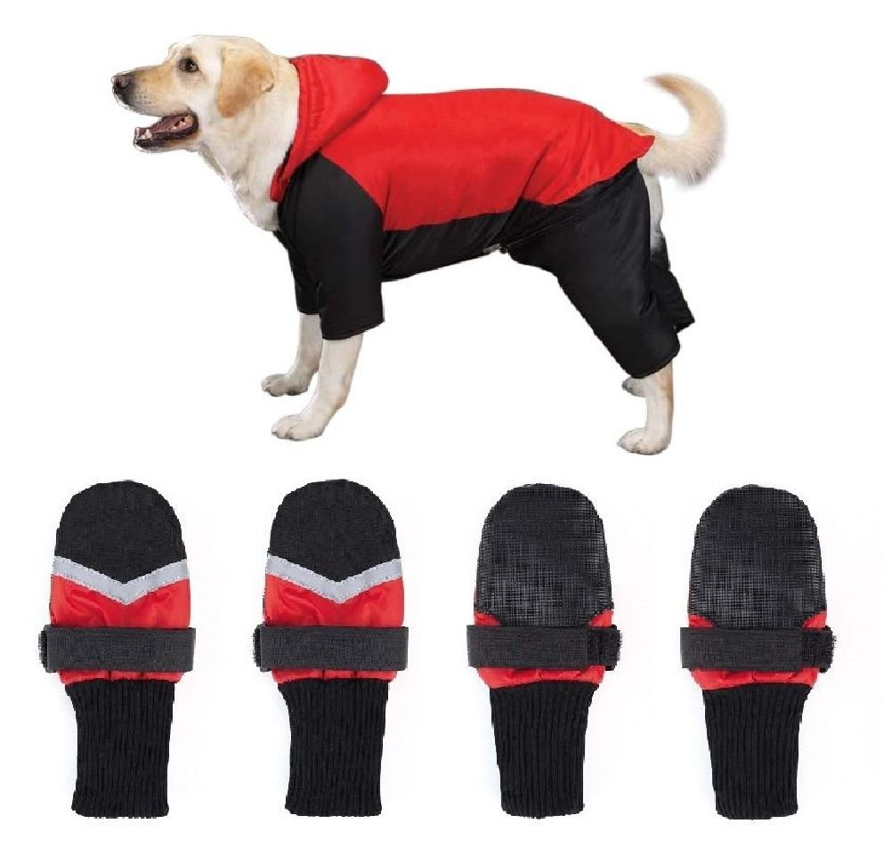Dog Snowsuit & Boot Sets-Red Or Blue Snow Suit With Free Matching Snowboots