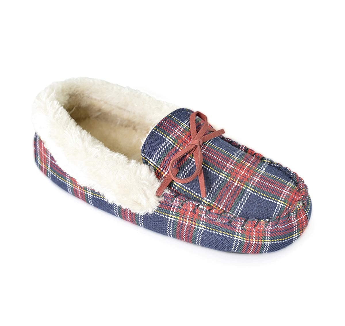 Womens Moccasin Style Real Leather Slippers Tartan Inner Sizes 3-8