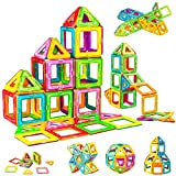 WHIMSWIT Magnetic Blocks, 65 Pieces 3D Magnetic Building Tiles Set, Educational Magnet Construction Toy for Kids, Girl and Boys