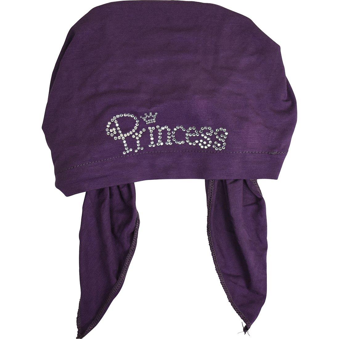 Princess Applique on Child's Pretied Head Scarf Cancer Cap Purple by Landana Headscarves (Image #3)