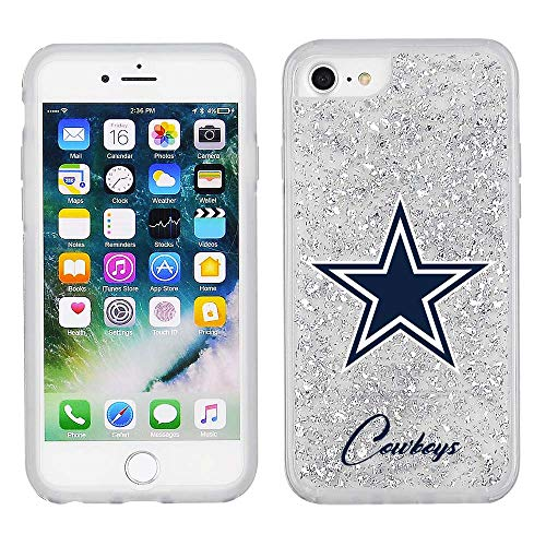 (NFL Licensed Dallas Cowboys Clear Protective Silver Glitter Case - iPhone 8/7/6s/6)