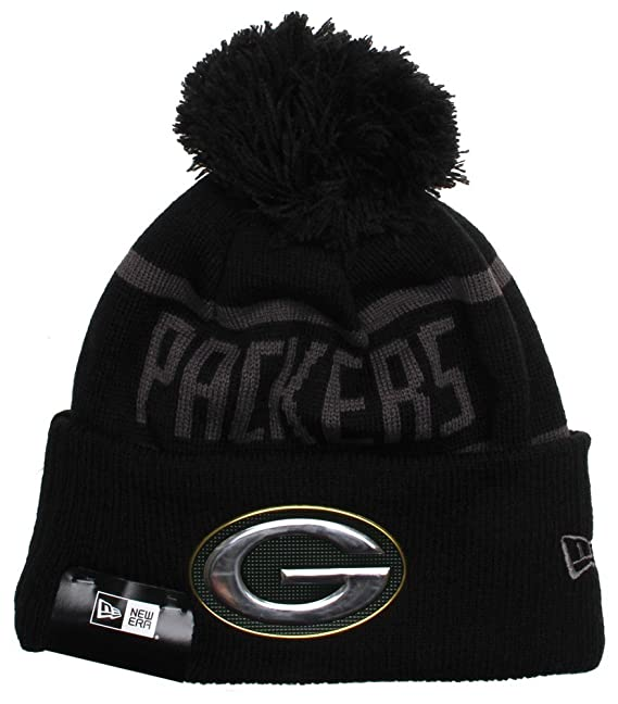 New Era NFL Black Collection Green Bay Packers Bobble Beanie Hat - O ... bc35f59642b