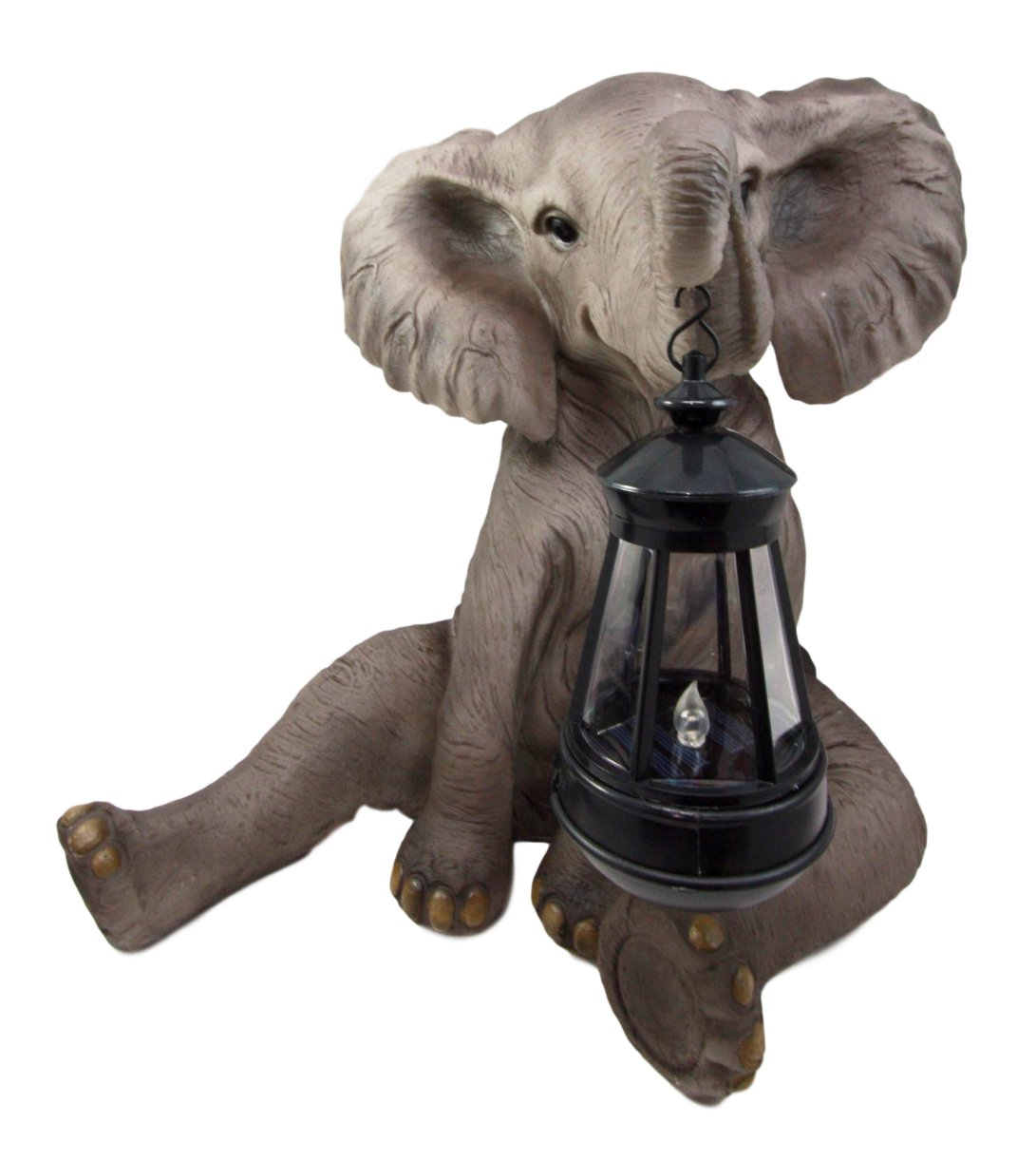 Ebros Safari Savanna Wildlife Animal Melee Adorable Pachy Elephant Statue Home Patio Decor Figurine with Solar LED Light Lantern Lamp 13.75''H Guest Greeter Courtesy Light Path Lighter Sculpture