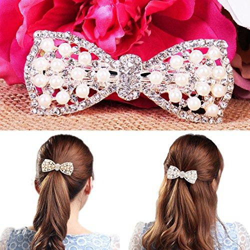 - Women Girl Crystal Pearl Bow Rhinestone Barrette Hair Clip Wedding Party Decors