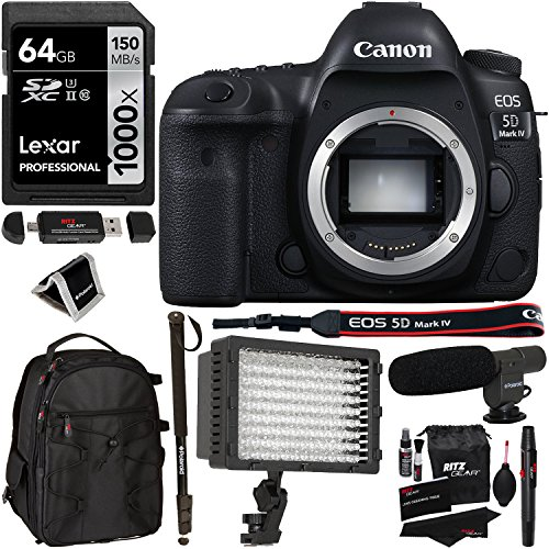 Canon EOS 5D Mark IV DSLR Camera Body, Lexar 64GB, Microphone,RitzGear Cleaning Kit, Polaroid Memory Card Wallet, LED Video Light...