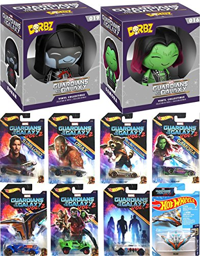 Guardians of the Galaxy Hot Wheels Cars Marvel Vol. 2 Exclusive Collectibles 8 vehicle pack Milano Starship + Dorbz Gamora Figure & Ronin Character Vinyl Bundle