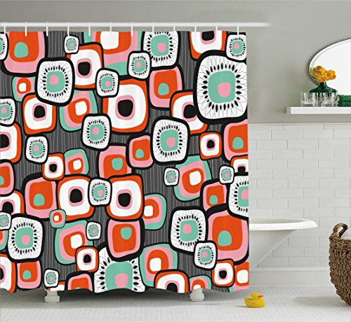 Ambesonne Retro Shower Curtain, Funky Square Shaped Lava Flowers with Abstract Inner Forms Print, Fabric Bathroom Decor Set with Hooks, 70 Inches, Mint Baby Pink Orange Grey