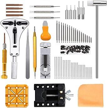 Viccess 210pcs Kit de Reparación de Relojes,Herramientas de Relojero Profesional para Barra de Resorte, Kit de Herramientas de Reemplazo de la Batería del Relojo: Amazon.es: Relojes