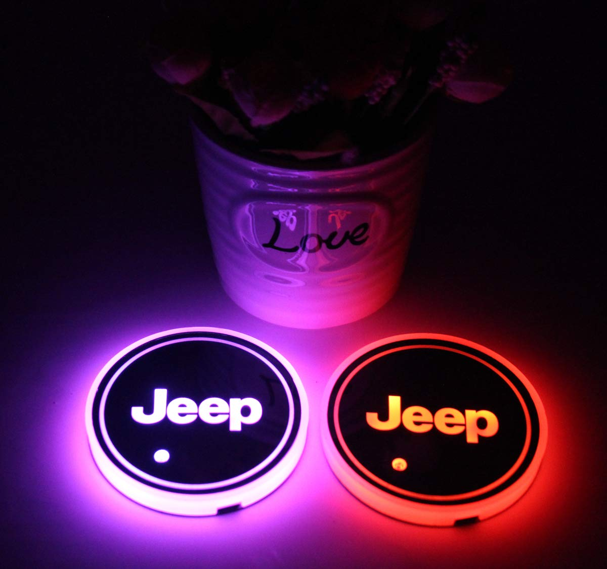 2pcs LED Car Cup Holder Lights for Nissan 7 Colors Changing USB Charging Mat Luminescent Cup Pad LED Interior Atmosphere Lamp