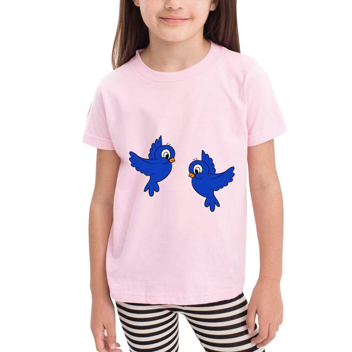 Cartoon Blue Birds 100/% Cotton Toddler Baby Boys Girls Kids Short Sleeve T Shirt Top Tee Clothes 2-6 T