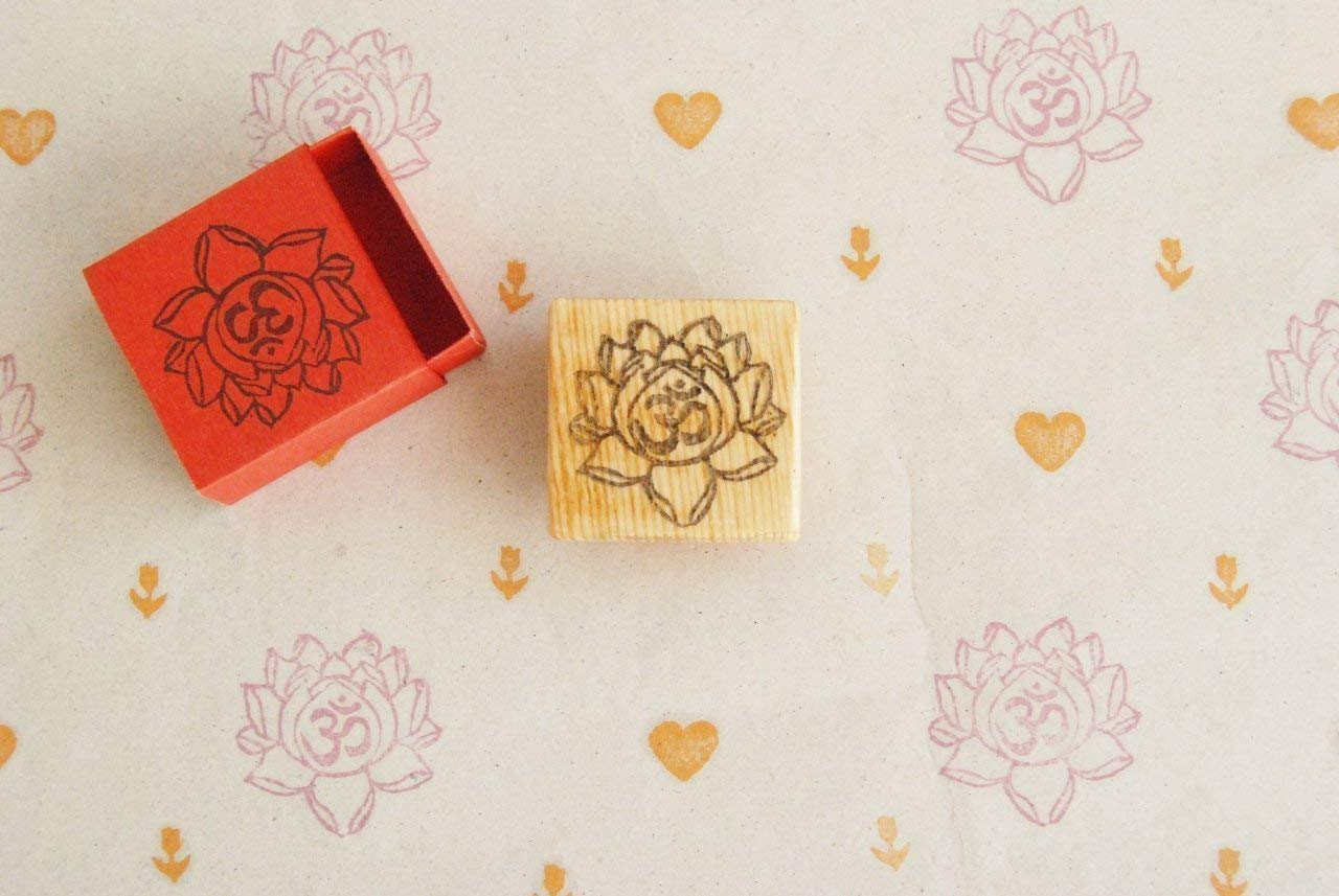 Om Hand carved rubber stamp