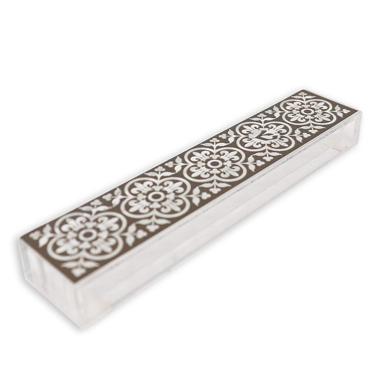 Dorit Judaica Perspex Clear Acrylic Mezuzah Mezuza Case Gray Flower Design MP-14