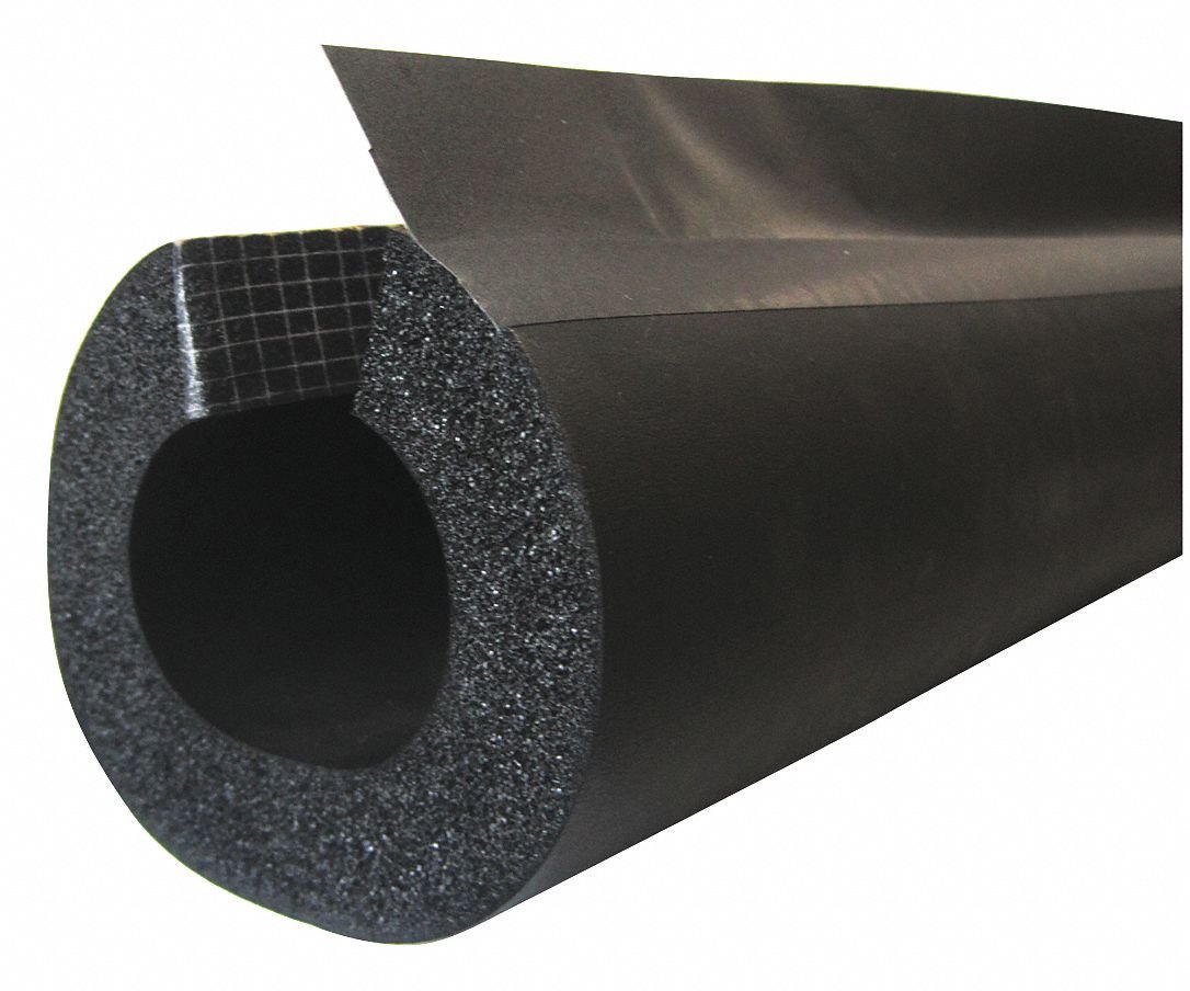 1/2'' Thick, Pre-Slit/Pre-Glued with Overflap NBR/PVC Pipe Insulation, 6 ft. Insulation Length