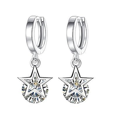 Dreamy Women Lucky Leaf Pearl Zirkonia 925 Sterling Silver Thread Earrings Crystal Earrings Hoop Earrings m6gQkTtBP