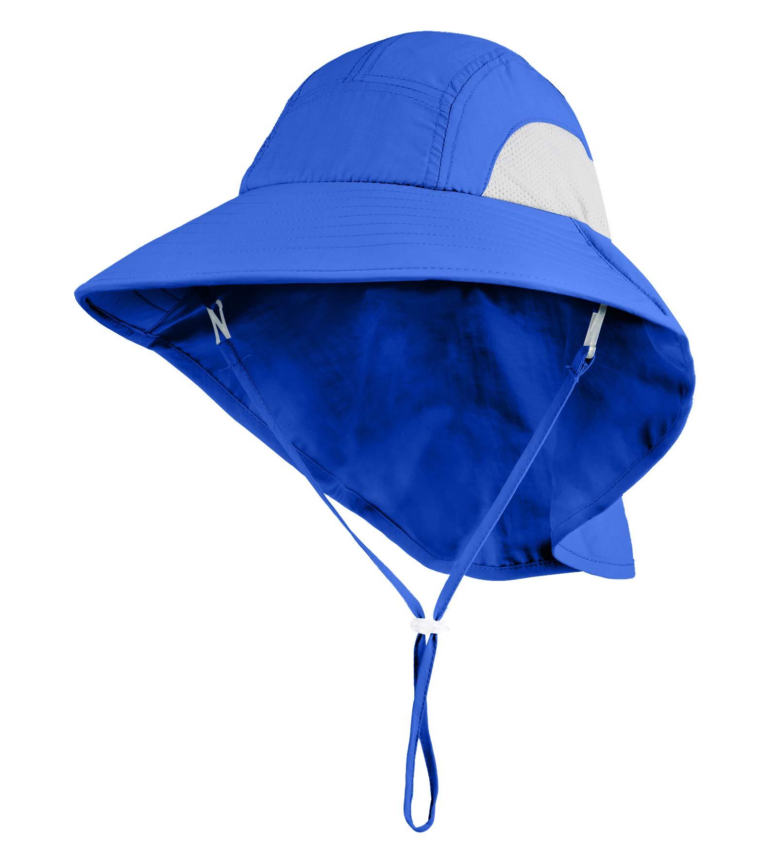 Connectyle Kids Large Brim UV Protection Sun Hat with Neck Flap Mesh Fishing Cap (Blue)