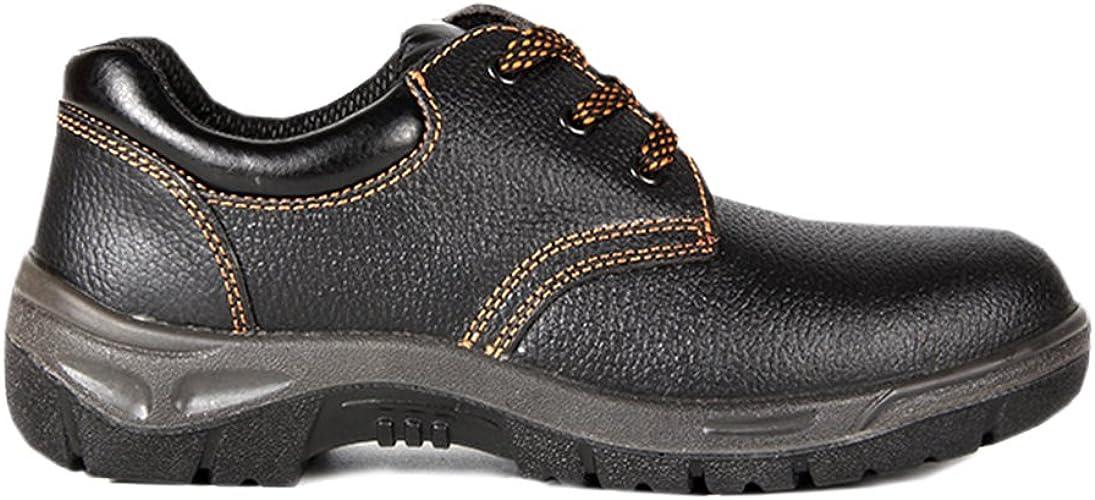 Arbeitsschuhe herren S1 , Schuhe, Leder Sicherheitsschuhe herren Wasserdichte schuhe, mit Rutschfeste Profilsohle, Schwarz, Stahlkappen schuhe