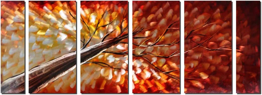 Pure Art Gazing Skyward at Sunset Metal Wall Art, Large Colorful Metal Wall Art Decor in Abstract Botanical Design, 3D Wall Art for Modern and Contemporary Decor, 6-Panels 24 x 65