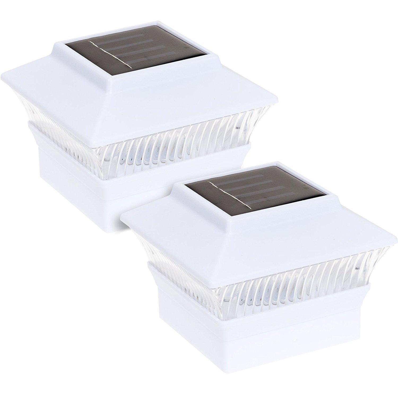 2 Pack Solar Powered Fit 4'' x 4'' LED Post Cap Light (White)
