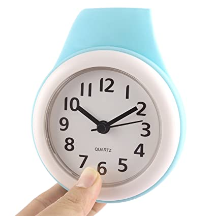Shower Clock, Haoun Silent Bathroom Wall Clock Water Resistant Battery Operated no Ticking Noise/Small Clock with Second Hand Easy to Read (Cyan)