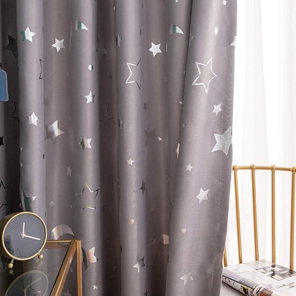 Prosperveil Glitter Stars Blackout Curtain Eyelet Thermal Insulated Darkening Window Curtains Panels for Kids Bedroom Baby Room Nursery 39 Width x 98 Drop Beige