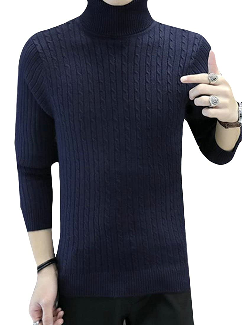 WANSHIYISHE Men Basic Long Sleeve Turtleneck Pullover Solid Sweater Top