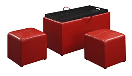 Home & Garden Convenience Concepts Sheridan Faux Leather Storage Bench With 2 Side Ottomans Ottomans, Footstools & Poufs