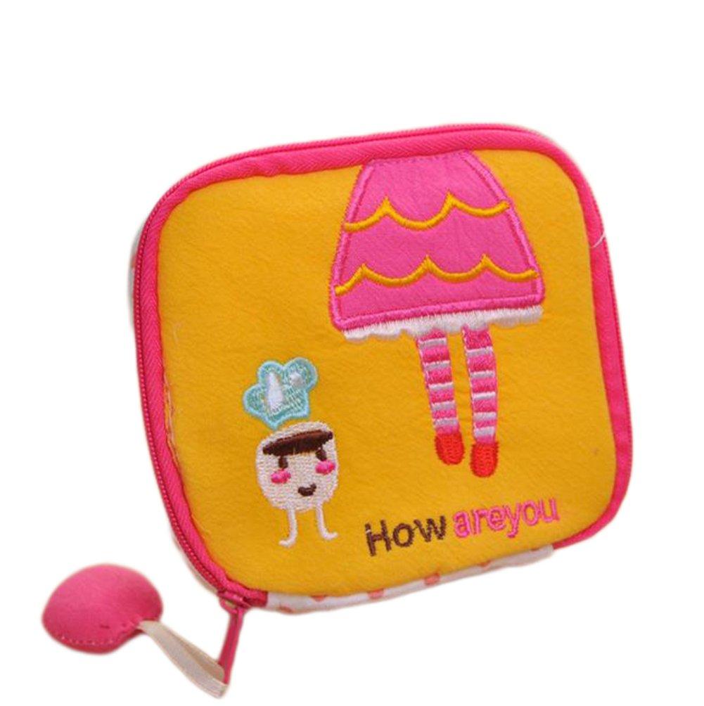 Cdet Mini monedero dibujos animados tela linda higiene algodón bolsa cosméticos paquete niñas de gran capacidad moneda monedero Rojo