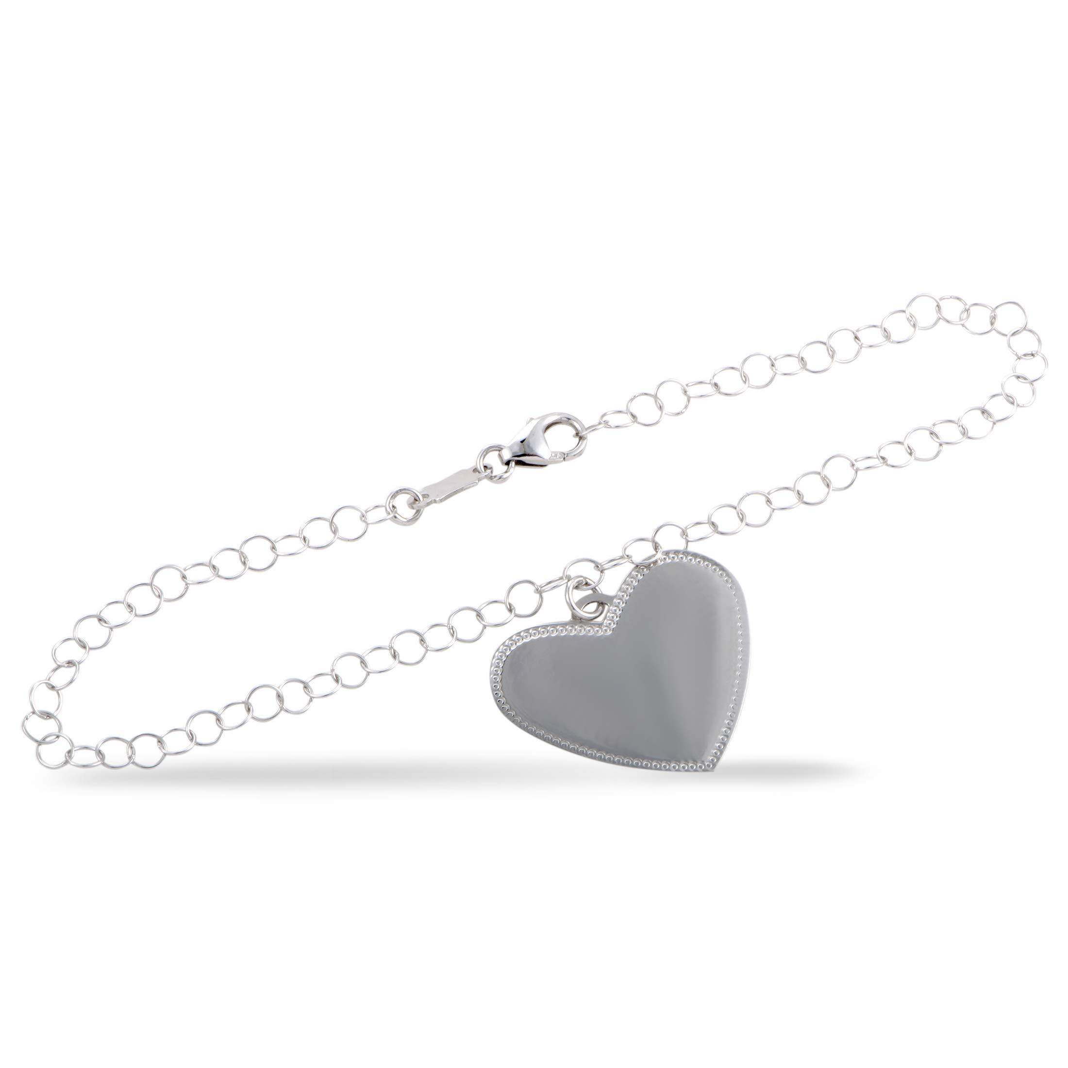 Bucherer 18K White Gold Heart Charm Chain Bracelet