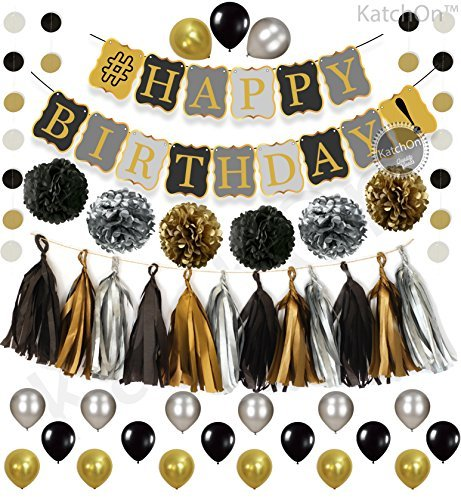 KATCHON Black and Gold Party Decorations Kit - 6 Pom Poms - Gold Silver Black Circle Garland - 4 Gold Paper 4 Black Paper 4 Silver Paper Tassel Gold Black Banner -