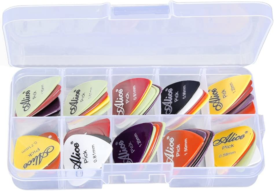 MagiDeal 24 Piezas Juegos Accesorios para Guitarra Púas con Various 6 Grueso + Caja de Selección Plástica