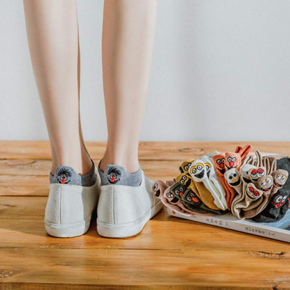 calzini alla caviglia carini Hoonee 4 paia di calzini da cartone animato da donna calzini novit/à Casualmente Calzini divertenti ricamati con faccina