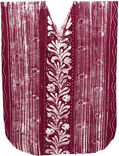 Maroon Batik Leela Caftan 100 Cotton V Women La b430 Long Gown Neck Evening Dress Day Hand 6PqdwnApzH