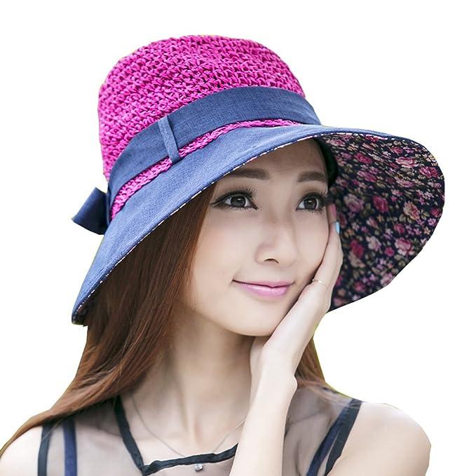3c523a60f8f Amazon.com  Outdoor Women s Beach Hats Sunbonnet Straw Hat Large Brim Cap  Bowknot Totem Topee Uv Sun Hat (Pink)  Sports   Outdoors