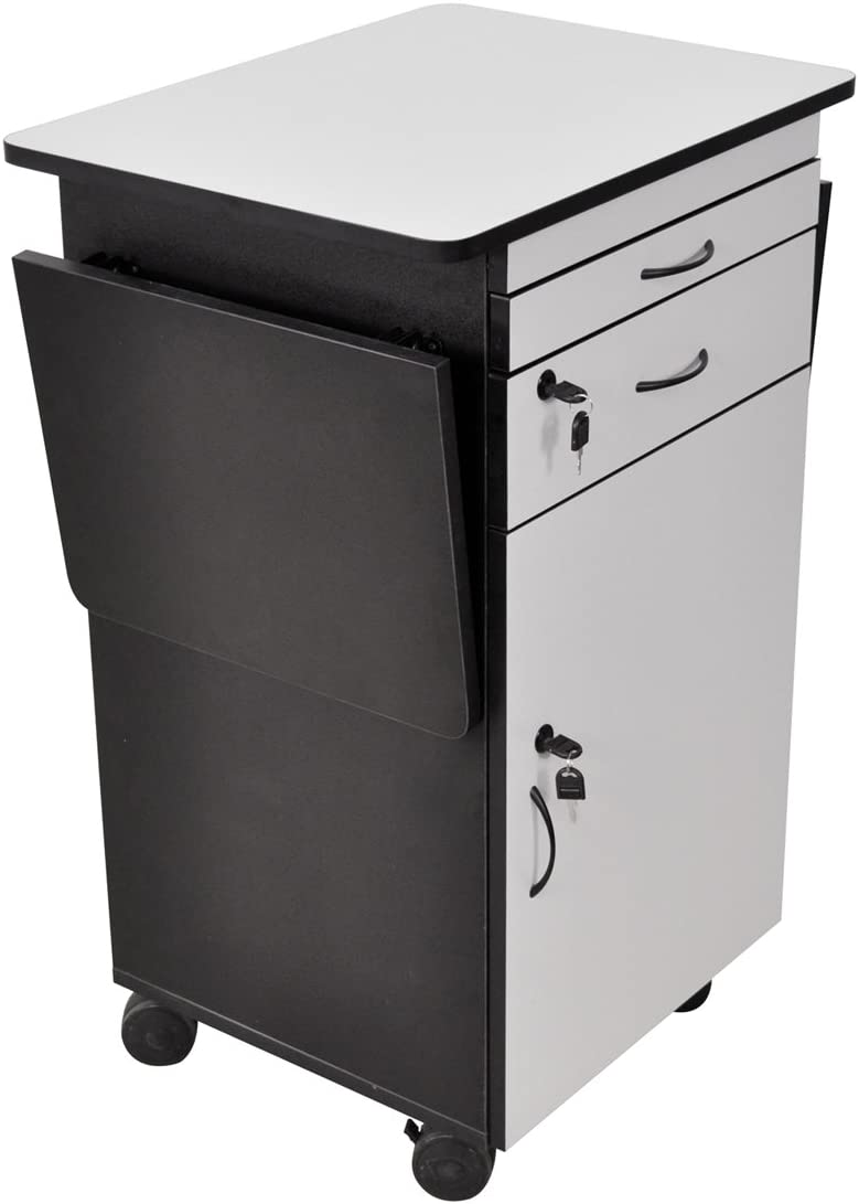 Luxor WPSDD3 Wood Multimedia Workstation Cart, 38 inches High Durable Black Gray Laminate Finish