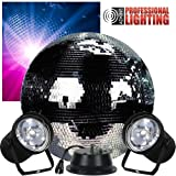 16'' Mirror Ball Complete Party Kit with 2 Pinspots and Motor - Adkins Professional Lighting