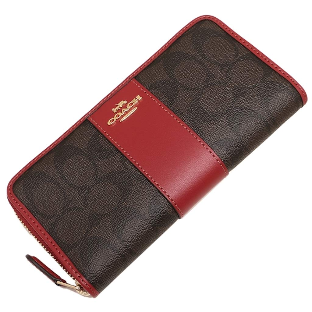 COACH ACCORDION ZIP WALLET IN SIGNATURE F54630 (IM/Brown Ruby)