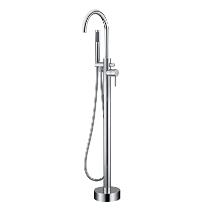 . Artiqua Freestanding Tub Filler Bathtub Faucet Chrome Single Handle Floor  Mounted Faucets with Handheld Shower