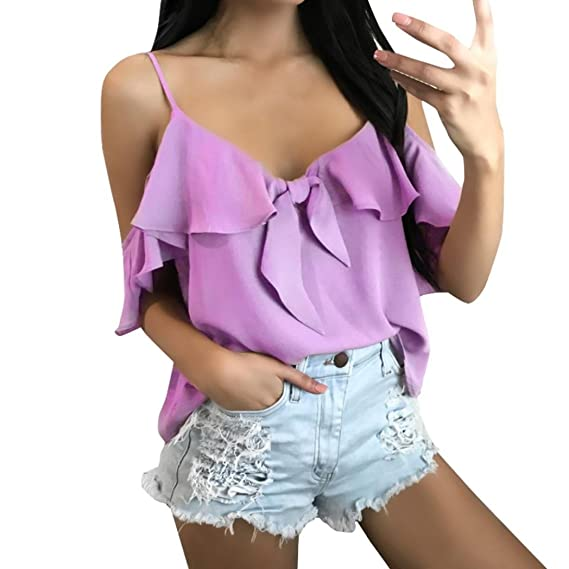 Happy-day Blusas Transparentes,Camisas Mujer,Tops Cortos Mujer,Tops Mujer Verano
