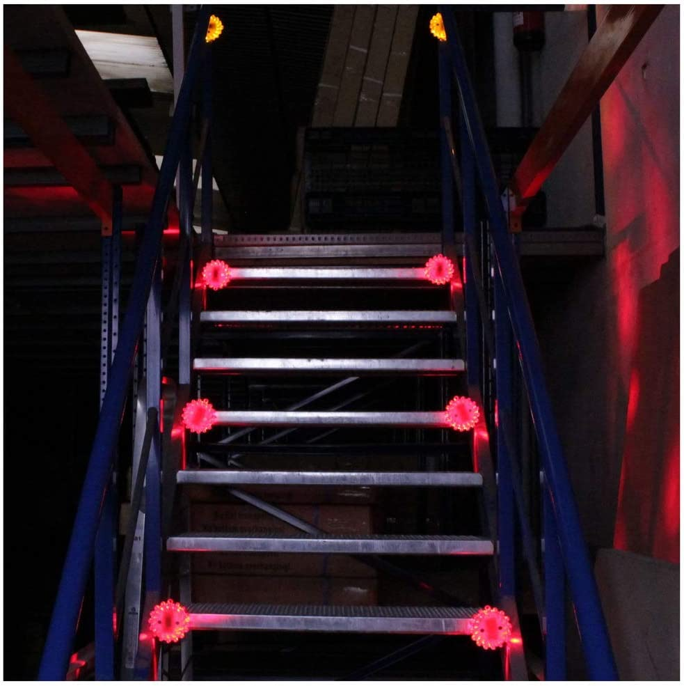 PrimeMatik - Baliza de señalización vial LED de color rojo/naranja IP67: Amazon.es: Electrónica